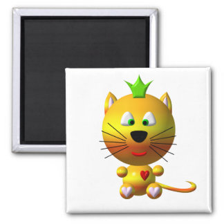 Cute cat with crown and hearts magnet