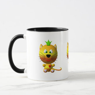 Cute cat with crown and hearts mug