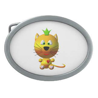 Cute Cat with Crown Belt Buckle