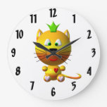 Cute Cat with Crown Clock