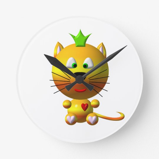 Cute Cat with Crown Round Clock