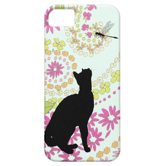 Cute cat with dragonfly iphone5 covers