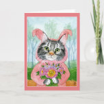 Cute Cat with flowers in bunny suit card