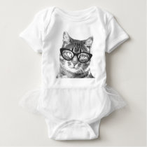 Cute cat with glasses baby tutu bodysuit creeper