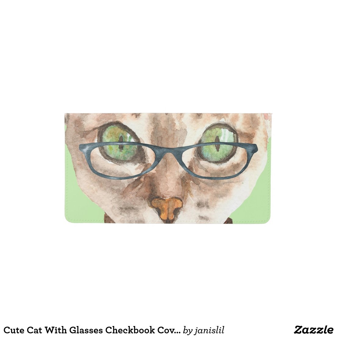 Cute Cat With Glasses Checkbook Cover