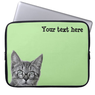 Cute Cat with Glasses on Green Laptop Sleeve