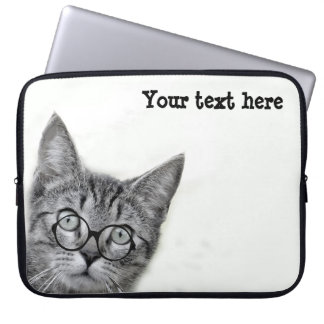 Cute Cat with Glasses on White Laptop Sleeve