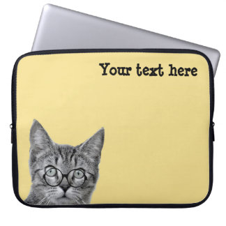 Cute Cat with Glasses on Yellow Laptop Sleeve