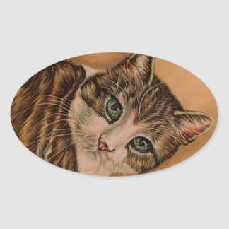 Cute Cat with Green Eyes and Tilted Head Oval Sticker