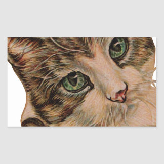 Cute Cat with Green Eyes and Tilted Head Rectangular Sticker