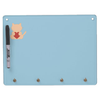 Cute Cat with Heart Dry Erase Board With Keychain Holder