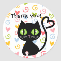 Cute Cat with Heart Tail Thank you Stickers