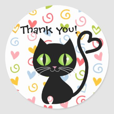 Valentines Themed Cute Cat with Heart Tail Thank you Stickers