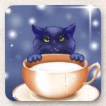 Cute Cat With Milk Beverage Coaster