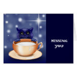 Cute Cat With Milk Greeting Card