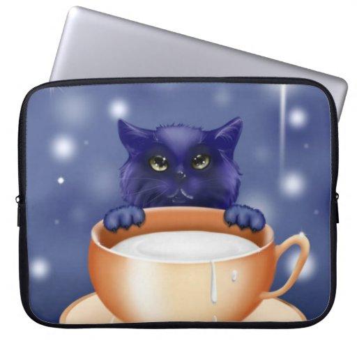 Cute Cat With Milk Laptop Sleeve
