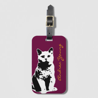 cute cat with name bag tag