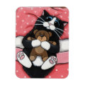 Cute Cat with Teddy Bear on Bed Magnet