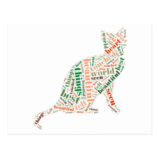 Cute Cat with Word Cloud Postcard