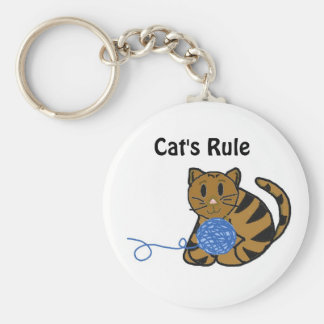 Cute Cat with Yarn and Saying Keychain