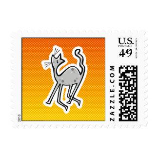 Cute Cat; Yellow Orange Stamps