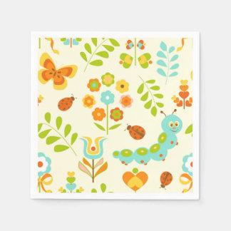 Cute caterpillar and flowers napkin