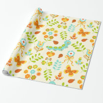 Cute caterpillar and flowers wrapping paper