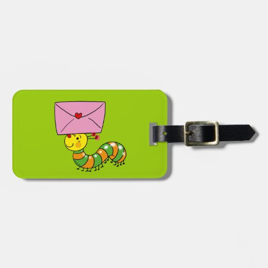 Cute caterpillar luggage tag