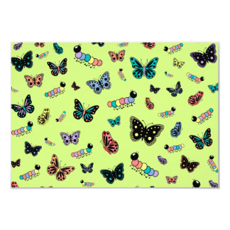 Cute Caterpillars & Butterflies (Green Background) 3.5x5 Paper Invitation Card