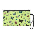 Cute Caterpillars & Butterflies (Green Background) Wristlet Purse