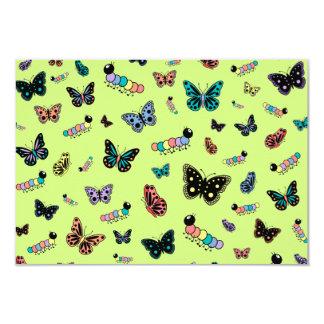 Cute Caterpillars & Butterflies (Green Background) Card