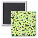Cute Caterpillars & Butterflies (Green Background) Fridge Magnets