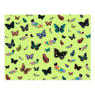 Cute Caterpillars & Butterflies (Green Background) Post Cards
