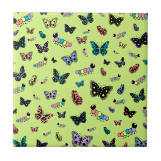 Cute Caterpillars & Butterflies (Green Background) Tile