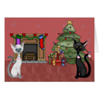 Cute Cats and Christmas Tree Holiday Greeting Card