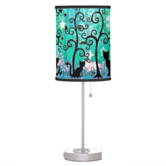 Cute Cats and Curly Trees Illustration Desk Lamp