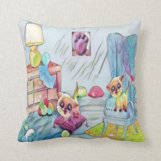 cute cats at play throw pillow
