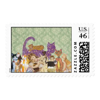 Cute Cats Collage 3 Postage stamp