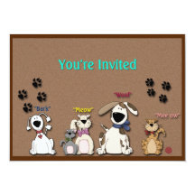 Cute Cats & Dogs All Occasion  Party Invitation Personalized Invitations