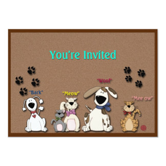 Cute Cats & Dogs All Occasion Party 4.5x6.25 Paper Invitation Card