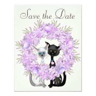 Cute Cats Easter Save the Date Wedding Notice Invitation
