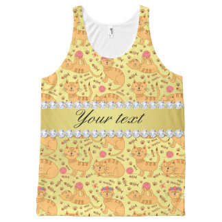 Cute Cats Faux Gold Foil Bling Diamonds All-Over-Print Tank Top