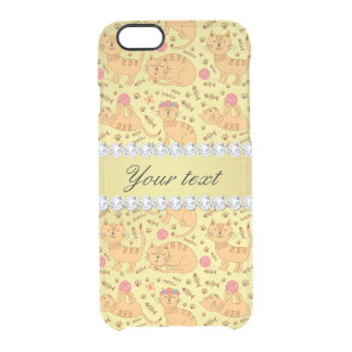 Cute Cats Faux Gold Foil Bling Diamonds Clear iPhone 6/6S Case