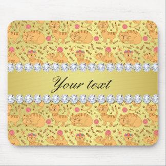 Cute Cats Faux Gold Foil Bling Diamonds Mouse Pad