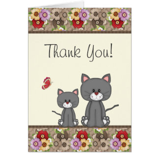 Cute Cats, Flowers and Butterfly Thank You Card