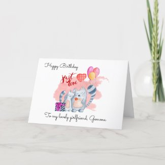 Cute Cats/Girlfriend Birthday Holiday Card