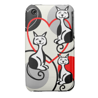 Cute Cats, Hearts and Dots iPhone 3G/3GS Case