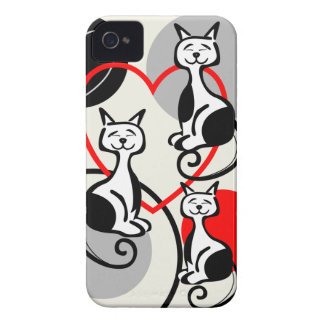 Cute Cats, Hearts and Dots iPhone 4 case