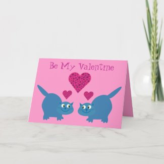 Cute Cats & Hearts Be My Valentine Gay card