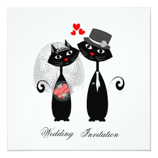 Cute Cats Hipster Bride And Groom Purrrfect Card